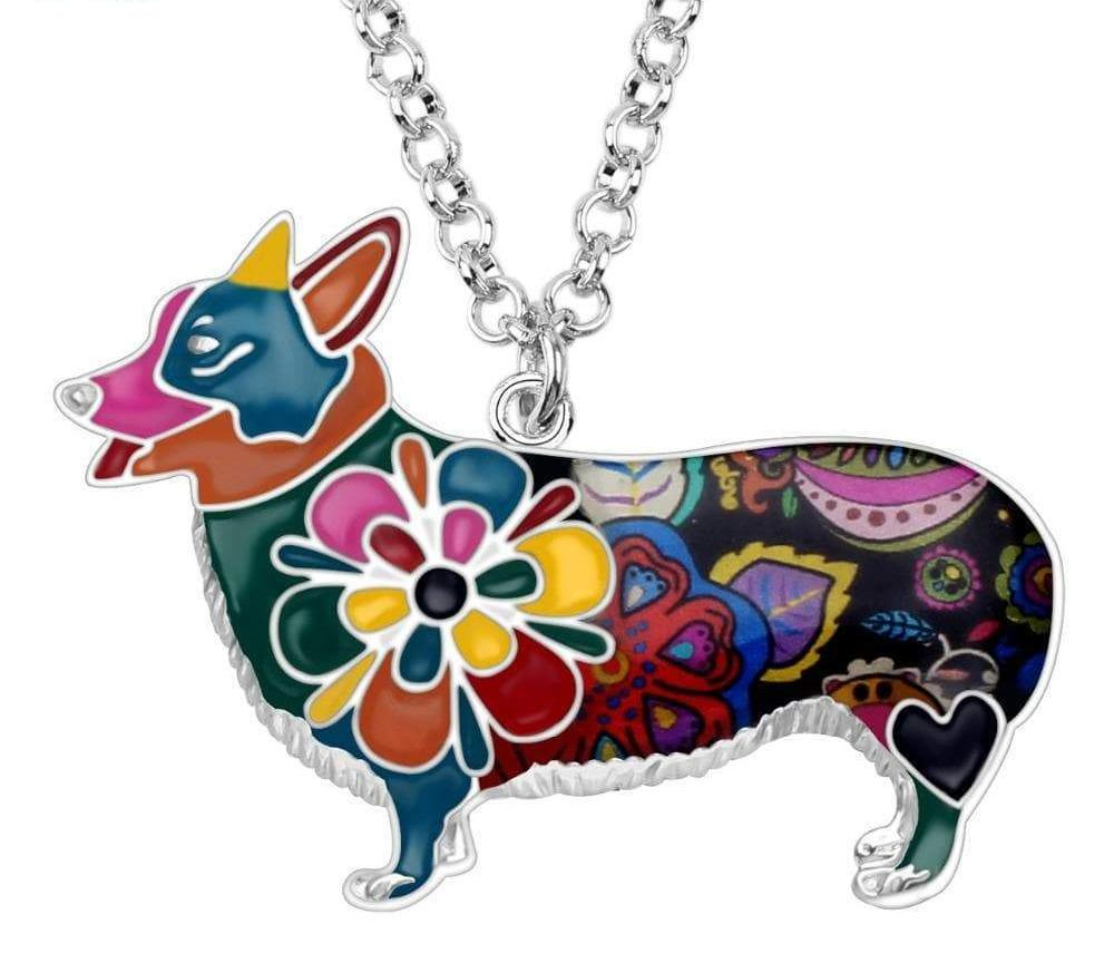 Colorful Enamel Corgi Necklace
