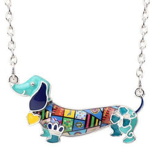"Load image into Gallery viewer, Colorful Enamel Dachshund ""Wiener Dog"" Necklace"