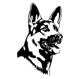 German Shepherd Vinyl Car Sticker - Black or Silver (4.5 x 7.3 inch)