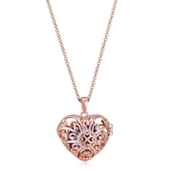 Seraphim Rose Gold Plated Heart Holder With Four Leaf Clover, Zirconia & Purple Sound Ball