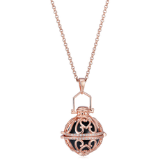 Seraphim Rose Gold Ball Holder With Heart Design & Zirconia & Black Sound Ball
