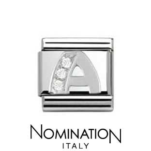 Nomination Classic CZ Silver Letter A