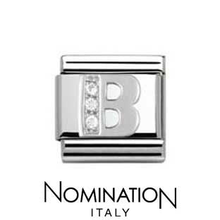 Nomination Classic CZ Silver Letter B