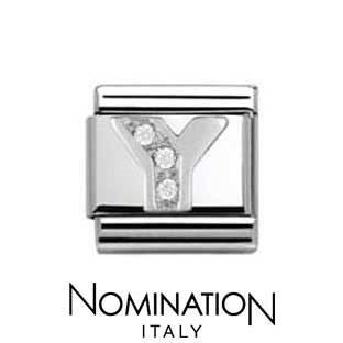 Nomination Classic CZ Silver Letter Y