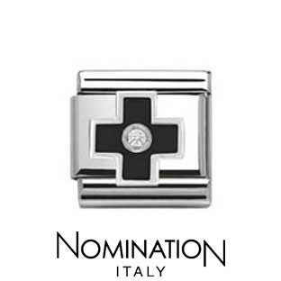 Nomination Black Cross Silvershine Charm