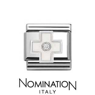 Nomination SilverShine White Cross Charm