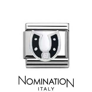 Nomination SilverShine Black Horseshoe Charm
