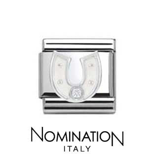 Nomination SilverShine White Horseshoe Charm