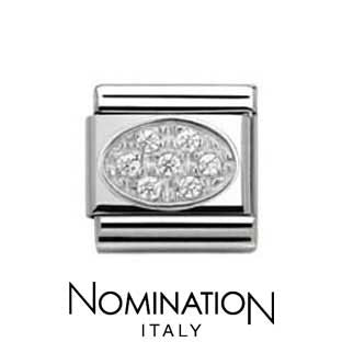 Nomination White Oval Pave Charm
