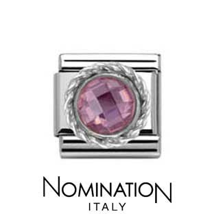 Nomination SilverShine Pink Round Faceted Stone Charm