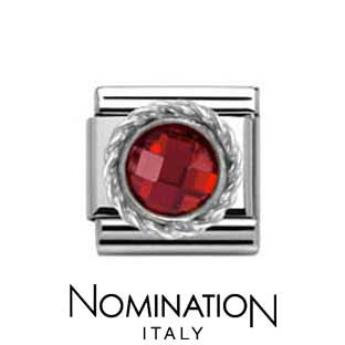 Nomination SilverShine Red Round Faceted Stone Charm