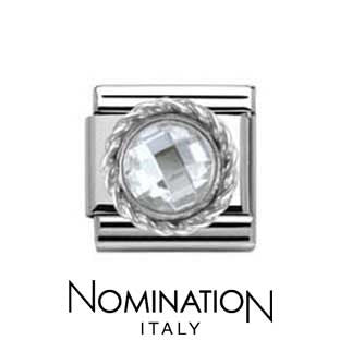 Nomination SilverShine White Round Faceted Stone Charm