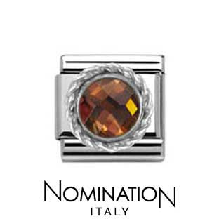 Nomination SilverShine Smoky Round Faceted Stone Charm