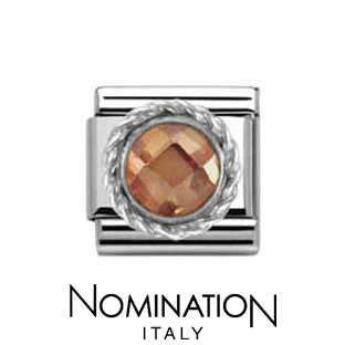 Nomination SilverShine Champagne Round Faceted Stone Charm