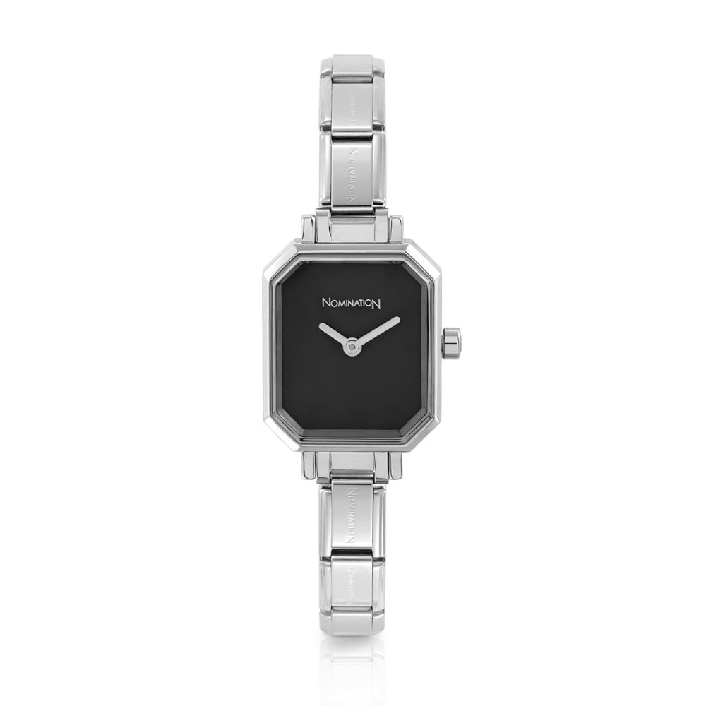 Paris Silver Black Rectangular Watch