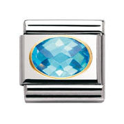 Nomination Light Blue Faceted Cubic Zirconia