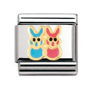 Nomination Blue & Pink Bunnies Charm