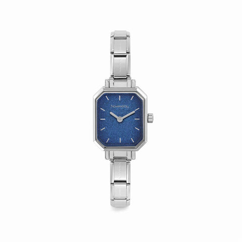Paris Blue Glitter Rectangular Watch