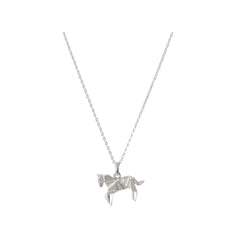 Sterling Silver Origami Horse Necklace
