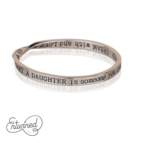 Entwined A Daughter Is... Silver Bangle