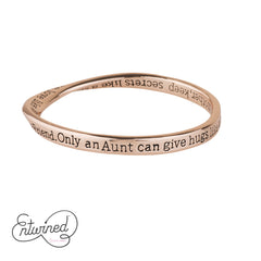 ENTWINED AUNT ROSE GOLD MESSAGE BANGLE