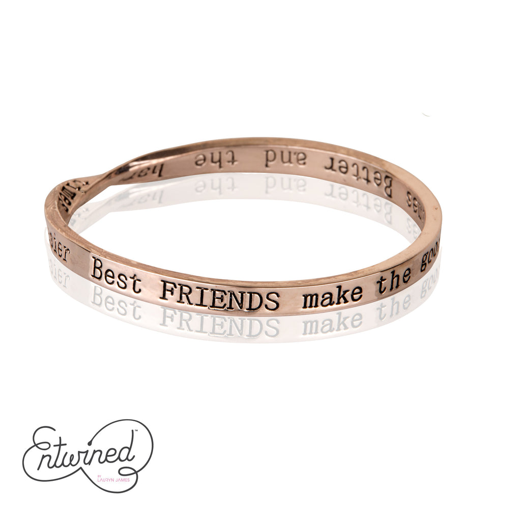 Entwined Best Friends... Rose Gold Bangle