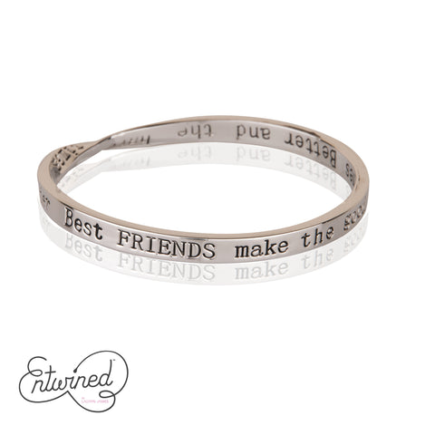 Entwined Best Friends... Silver Bangle