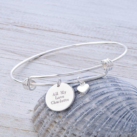 Personalised Silver Message Bangle