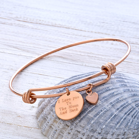 Personalised Rose Gold Message Bangle