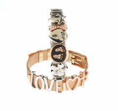 Buckle Up Rose Gold Two Hearts Charm