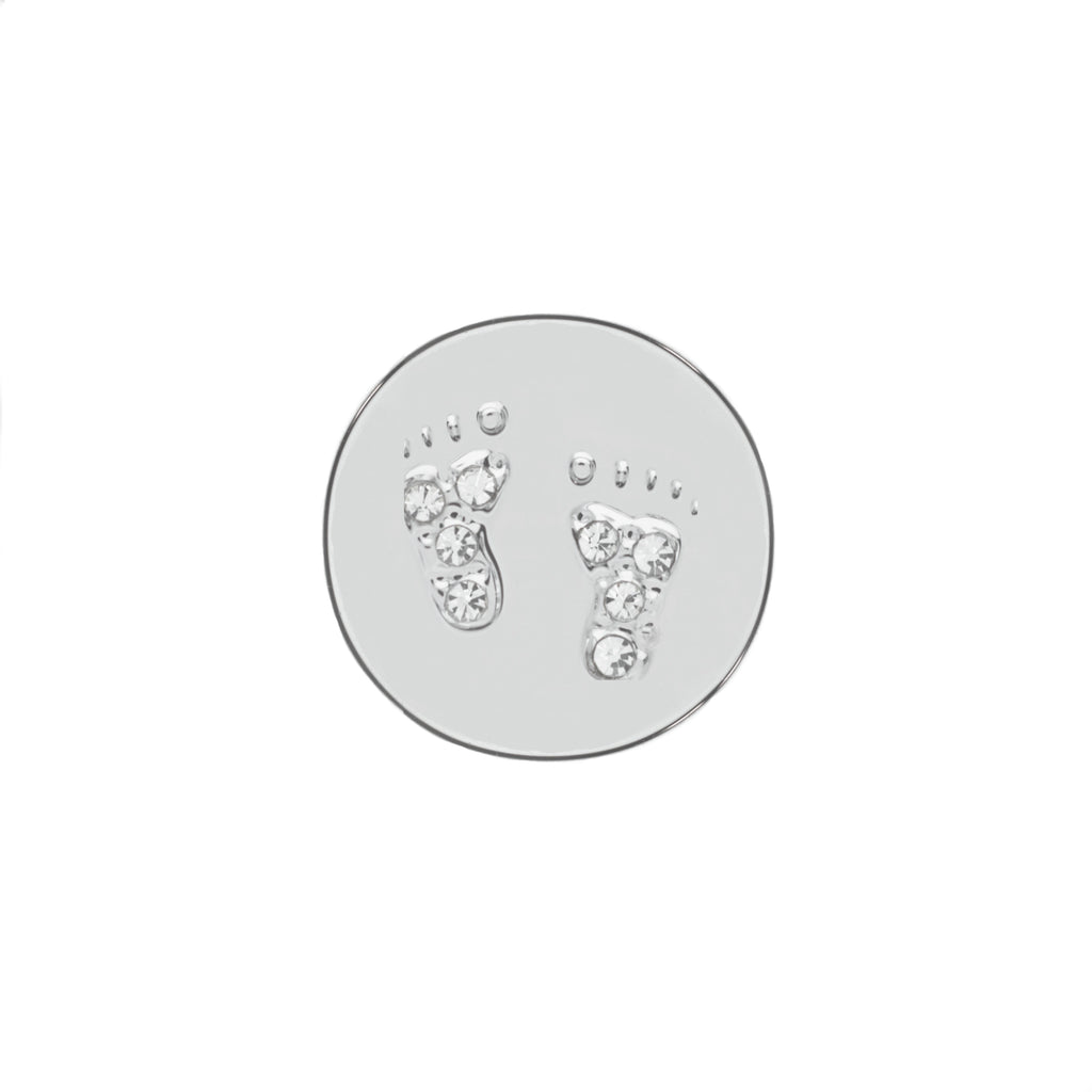 Buckle Up Silver Footprints Charm