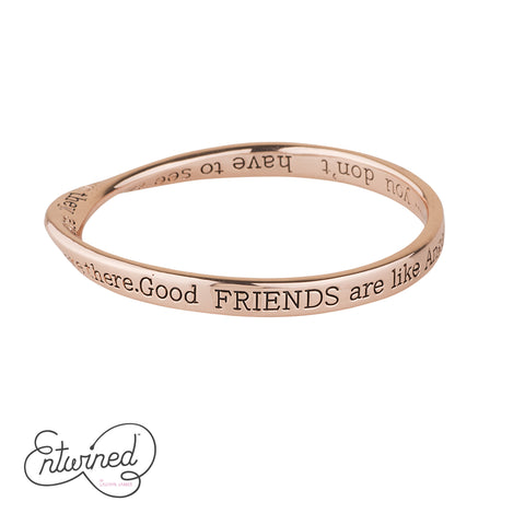 ENTWINED GOOD FRIENDS MESSAGE BANGLE ROSE GOLD