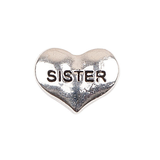 Silver Heart Sister Charm