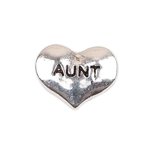 Silver Heart Aunt Charm
