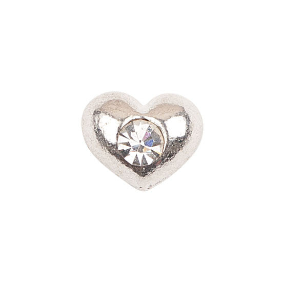 Silver Heart With Crystal