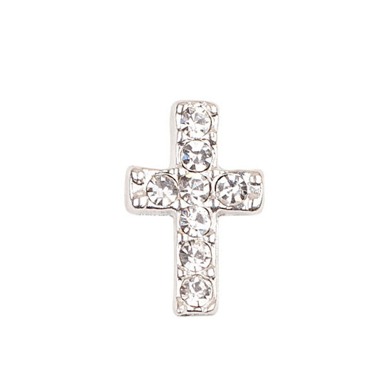 Silver Cross With Crystals