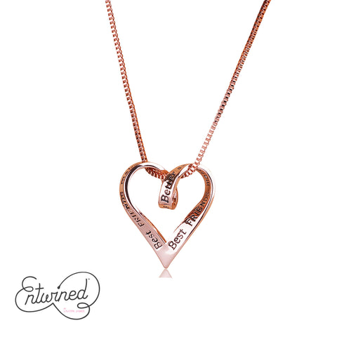 Entwined Best Friends.. Necklace Rose Gold Plated