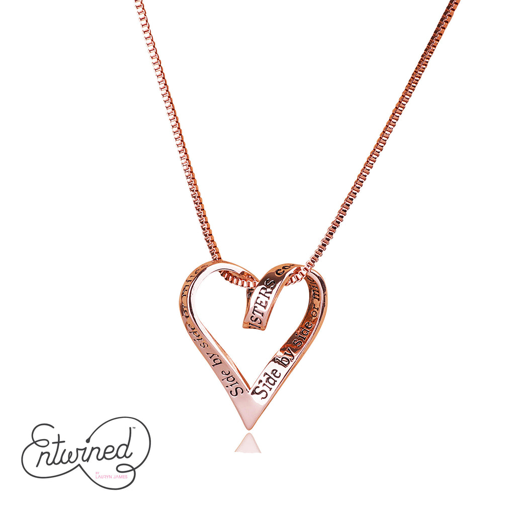 Entwined Sisters... Necklace Rose Gold