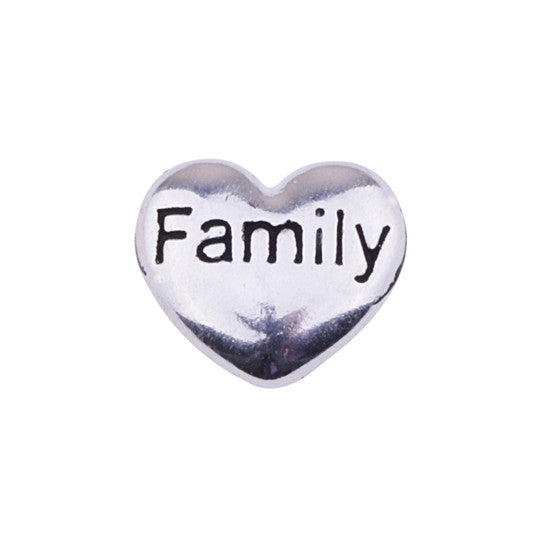 Silver Family Heart Charm