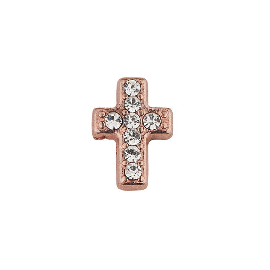 ROSE GOLD CROSS WITH CRYSTALS