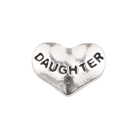 SILVER HEART DAUGHTER CHARM