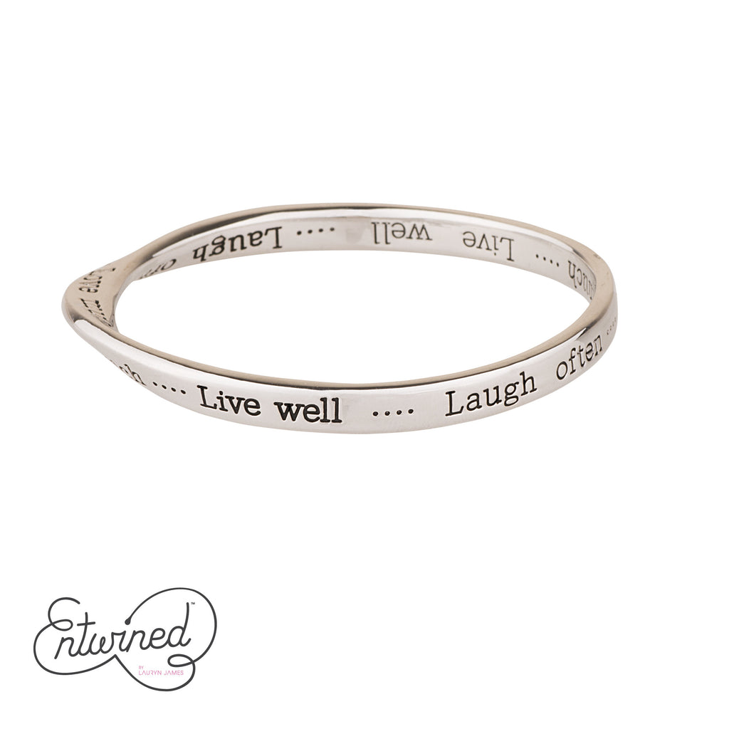 ENTWINED LIVE WELL, LAUGH OFTEN, LOVE MUCH SILVER MESSAGE BANGLE