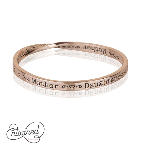 ENTWINED MOTHER DAUGHTER FRIEND MESSAGE BANGLE