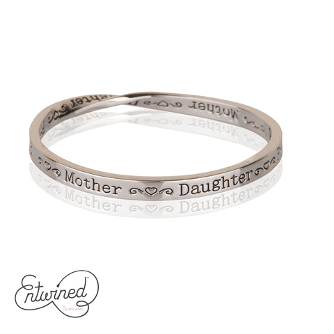 ENTWINED MOTHER DAUGHTER FRIEND SILVER MESSAGE BANGLE