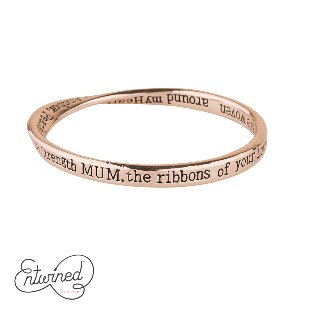 ENTWINED MUM MESSAGE BANGLE ROSE GOLD
