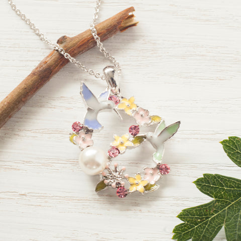 Secret Garden Humming Birds Necklace