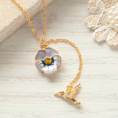 Secret Garden Humming Bird & Flower Necklace