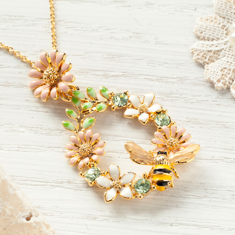 Secret Garden Bumble Bee & Floral Necklace