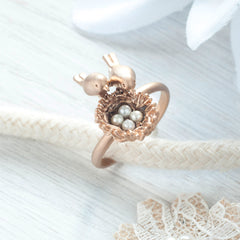 Secret Garden Two Birds Ring With Pearls