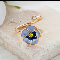 Secret Garden Flower & Crystal Ring